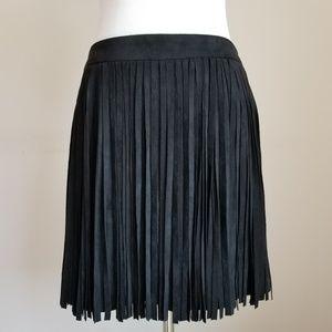 NWOT 5/48 (Saks) Micro Suede Black Fringed Skirt
